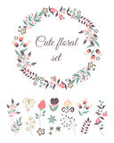 Σύνολο χαριτωμένων λουλουδιών doodle Στοκ Εικόνες