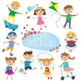 Σύνολο χαριτωμένων παιδιών στις διακοπές Στοκ εικόνες με δικαίωμα ελεύθερης χρήσης