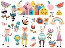 Σύνολο χαριτωμένων Σκανδιναβικών στοιχείων και ζώων ύφους Στοκ Εικόνες