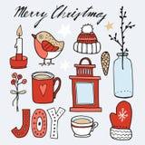 Σύνολο χαριτωμένων συρμένων χέρι γραφικών στοιχείων Χριστουγέννων, s Στοκ φωτογραφίες με δικαίωμα ελεύθερης χρήσης