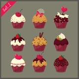 Σύνολο χαριτωμένων cupcakes. Στοκ Φωτογραφία