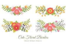 Σύνολο χαριτωμένων floral συνόρων Στοκ Εικόνα