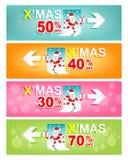 Σύνολο Χαρούμενα Χριστούγεννας και νέου εμβλήματος πώλησης έτους Έννοια σημαδιών Χριστουγέννων Στοκ Εικόνα