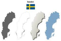 Σύνολο χαρτών περιλήψεων της Σουηδίας Στοκ Εικόνες