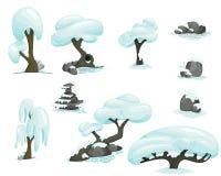 Σύνολο χειμερινών δέντρων Στοκ Εικόνες