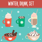 Σύνολο χειμερινών καυτό ποτών στοκ εικόνες με δικαίωμα ελεύθερης χρήσης