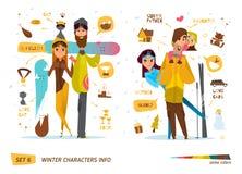 Σύνολο χειμερινών χαρακτήρων Στοκ Φωτογραφία