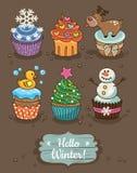 Σύνολο χειμώνα cupcakes με τα διαφορετικά καλύμματα Στοκ εικόνα με δικαίωμα ελεύθερης χρήσης