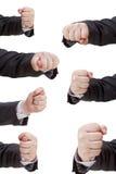 Σύνολο χειρονομίας χεριών με τα σφιγγμένα δάχτυλα Στοκ Φωτογραφία