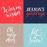 Σύνολο χειρόγραφων καρτών Χριστουγέννων Στοκ εικόνα με δικαίωμα ελεύθερης χρήσης
