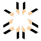 Σύνολο χεριού που δείχνει το δάχτυλο ελεύθερη απεικόνιση δικαιώματος