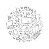 σύνολο χεριού που σύρεται doodles της ηλεκτρονικής συσκευής Στοκ Εικόνες