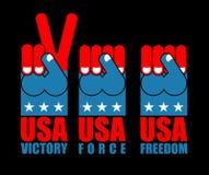Σύνολο χεριών ΑΜΕΡΙΚΑΝΙΚΩΝ πατριωτών Αμερικανικό αμερικανικό εθνικό σύμβολο πυγμών δύναμης U Στοκ Φωτογραφίες