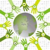 Σύνολο χεριών με τα βιο εικονίδια που παραμερίζουν στον πράσινο περιβαλλοντικό κόσμο Στοκ Εικόνες