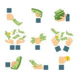 Σύνολο χεριών με τα τραπεζογραμμάτια Στοκ Εικόνες