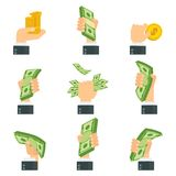 Σύνολο χεριών με τα χρήματα Στοκ φωτογραφία με δικαίωμα ελεύθερης χρήσης
