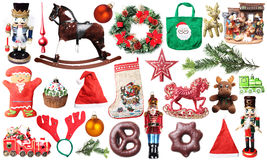 Σύνολο Χριστουγέννων απομονωμένου ντεκόρ Στοκ φωτογραφία με δικαίωμα ελεύθερης χρήσης