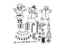 Σύνολο Χριστουγέννων εικονιδίων και στοιχείων ελεύθερη απεικόνιση δικαιώματος