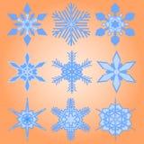 Σύνολο Χριστουγέννων εννέα snowflakes Στοκ Εικόνα