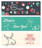 Σύνολο Χριστουγέννων και νέων εμβλημάτων μέσων έτους κοινωνικών στοκ εικόνα με δικαίωμα ελεύθερης χρήσης