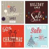 Σύνολο Χριστουγέννων και νέων εμβλημάτων πώλησης έτους κινητών στοκ εικόνα με δικαίωμα ελεύθερης χρήσης