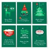 Σύνολο Χριστουγέννων και νέων ευχετήριων καρτών έτους διανυσματική απεικόνιση