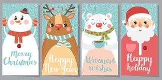 Σύνολο Χριστουγέννων και νέων ευχετήριων καρτών έτους Στοκ εικόνες με δικαίωμα ελεύθερης χρήσης