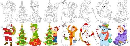 Σύνολο Χριστουγέννων κινούμενων σχεδίων ελεύθερη απεικόνιση δικαιώματος