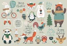 Σύνολο Χριστουγέννων, συρμένο χέρι ύφος - καλλιγραφία, ζώα και άλλα στοιχεία Στοκ εικόνες με δικαίωμα ελεύθερης χρήσης