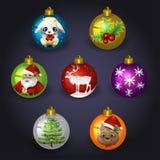σύνολο Χριστουγέννων σφαιρών διανυσματική απεικόνιση