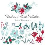 Σύνολο Χριστουγέννων floral στοιχείων Στοκ Εικόνες