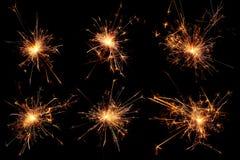 Σύνολο Χριστουγέννων sparkler στο μαύρο υπόβαθρο Στοκ εικόνες με δικαίωμα ελεύθερης χρήσης
