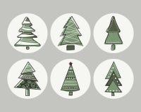 Σύνολο χριστουγεννιάτικων δέντρων εικονιδίων με τα περιγράμματα του χεριού Στοκ Φωτογραφία