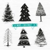 Σύνολο χριστουγεννιάτικων δέντρων σχεδίων Στοκ Εικόνα