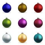Σύνολο Χριστούγεννα σφαιρών ζωηρόχρωμα Στοκ εικόνα με δικαίωμα ελεύθερης χρήσης