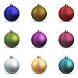 Σύνολο Χριστούγεννα σφαιρών ζωηρόχρωμα Στοκ εικόνες με δικαίωμα ελεύθερης χρήσης