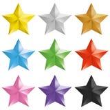 Σύνολο χρυσού, ασημένιου, χαλκού, ζωηρόχρωμα απομονωμένα αστέρια Στοκ Εικόνα