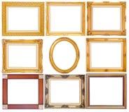 Σύνολο χρυσού εκλεκτής ποιότητας πλαισίου που απομονώνεται στο άσπρο υπόβαθρο Στοκ Φωτογραφίες