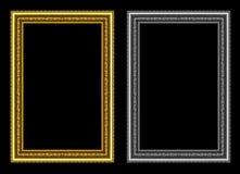 Σύνολο χρυσού και γκρίζου πλαισίου που απομονώνεται στο μαύρο υπόβαθρο, με το CL Στοκ Φωτογραφία