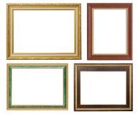 Σύνολο χρυσού πλαισίου και ξύλινου τρύού που απομονώνονται στο άσπρο backgroun Στοκ εικόνες με δικαίωμα ελεύθερης χρήσης