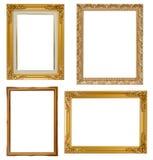 Σύνολο χρυσού πλαισίου και ξύλινου τρύού που απομονώνονται στο άσπρο backgroun Στοκ φωτογραφίες με δικαίωμα ελεύθερης χρήσης