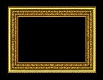 Σύνολο χρυσού πλαισίου που απομονώνεται στο μαύρο υπόβαθρο, με το ψαλίδισμα PA Στοκ φωτογραφία με δικαίωμα ελεύθερης χρήσης