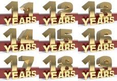 Σύνολο χρυσού ψηφίου και η λέξη του έτους τρισδιάστατη απεικόνιση απεικόνιση αποθεμάτων