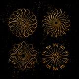 Σύνολο χρυσού mandala eps 8 κύκλων διάνυσμα διακοσμήσεων απεικόνισης Στοκ Εικόνες