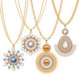 Σύνολο χρυσών αλυσίδων με τα διαφορετικά κρεμαστά κοσμήματα διανυσματική απεικόνιση