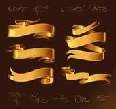 Σύνολο χρυσών διανυσματικών κορδελλών για το κείμενό σας Στοκ Εικόνες