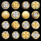 Σύνολο χρυσών και ασημένιων σφραγίδων και διακριτικών πιστοποιητικών Στοκ εικόνες με δικαίωμα ελεύθερης χρήσης