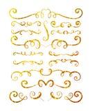 Σύνολο χρυσών κατασκευασμένων συρμένων χέρι σύντομων χρονογραφημάτων Στοκ φωτογραφία με δικαίωμα ελεύθερης χρήσης