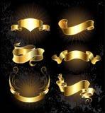 Σύνολο χρυσών κορδελλών καθορισμένων Στοκ φωτογραφίες με δικαίωμα ελεύθερης χρήσης