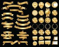 Σύνολο χρυσών κορδελλών και σφραγίδων και διακριτικών πιστοποιητικών Στοκ φωτογραφίες με δικαίωμα ελεύθερης χρήσης